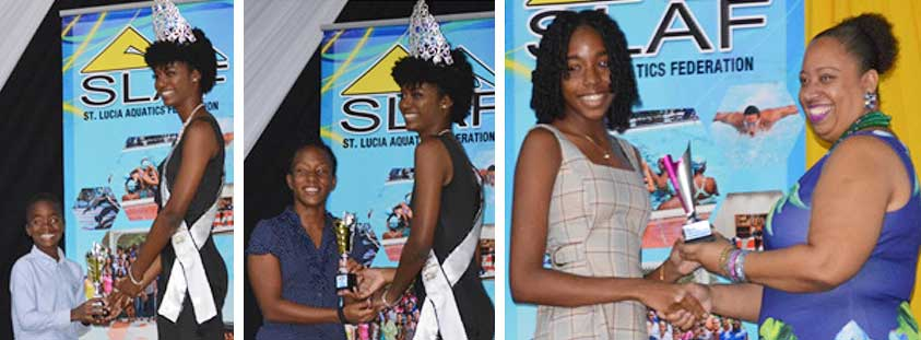 Image: (L-R) Age Group winners, Boys 8 and Under, James Stylvester and Caitlin Polius (Seajays) receving their awards from Gros Islet Carnival Queen, Kersandra Edwards; Lightning Aquatics' Most Improved Swimmer Courtney Paul receving her award from President of Southern Flying Fish Swim Club Vicky Henry..(PHOTO: SLAF)
