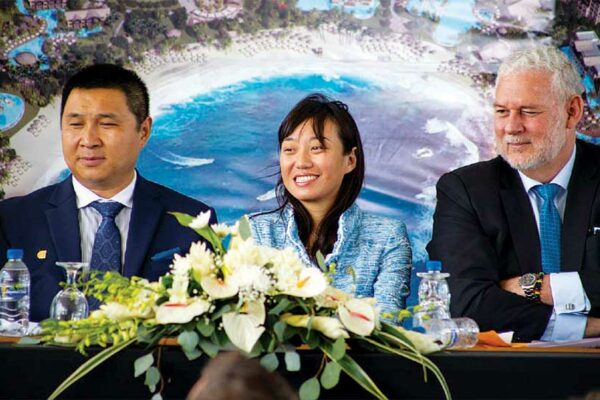 Image: (L-R) Jiang Tang (VP of Galaxy Group), Ying Jin (CEO of Caribbean Galaxy Real Estate Ltd.) and Prime Minister Honourable Allen Chastanet