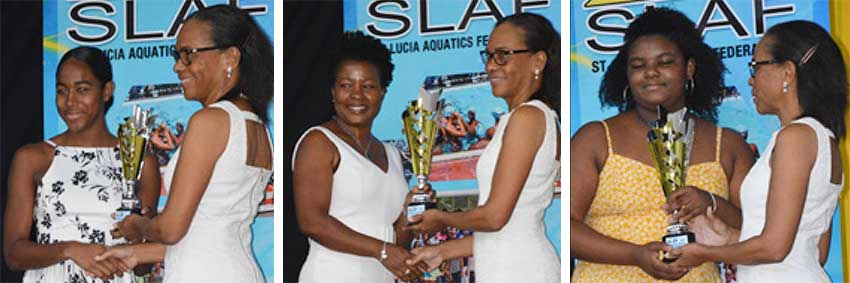 Image: (L-R) Naima Hazell receving Junior Swimmer of the Year (female) award from presenter Diane Mauricette; Constance Charlemagne receving Senior Swimmer of the Year (female) award on behalf of her daugherMilakil Charlemagne; JerminahOdlum - Smith  receving Senior Swimmer of the Year award (male) on behalf of her brother JayhanOdlum - Smith. (PHOTO: Anthony De Beauville)