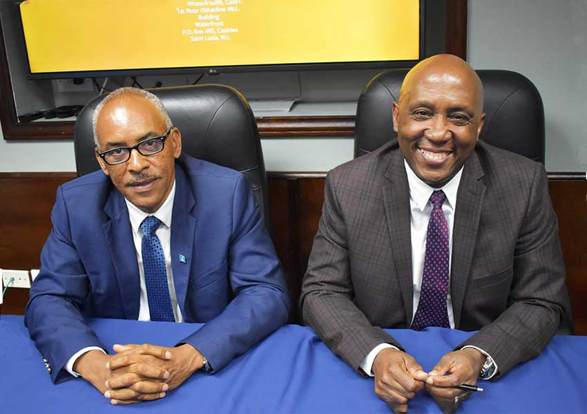 Image of Pinkley Francis, Chairman of Invest Saint Lucia's Board of Directors (left) and Roderick Cherry, CEO of Invest Saint Lucia.