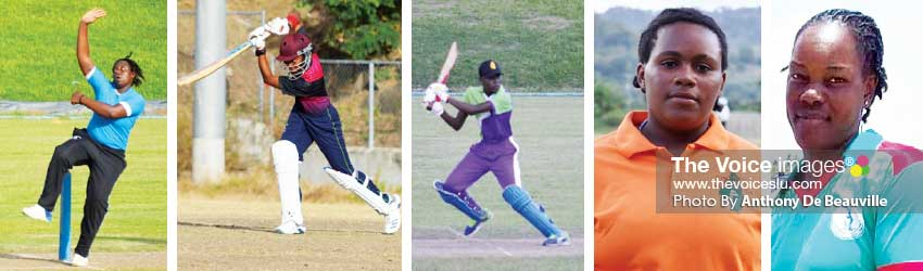 Image: (L-R) Four out of five nominees for Senior Cricketer of the Year, Johnson Charles, Jamal James, Larry Edwards and Dillan John. (Photo: Anthony De Beauville)