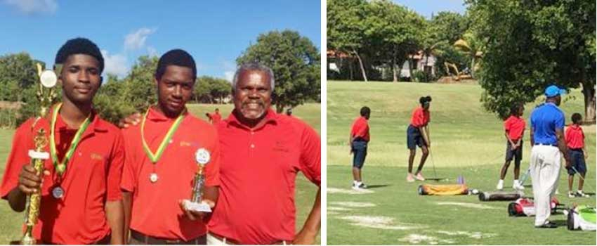 Image: (L-R) International pro Regis Gustave congratulates Champion Keymanie Thomas and runner-up Adrian Richelieu; Junior golfers in action on the golf course. (Photo: SLGA)