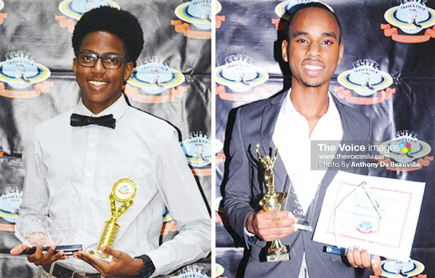 Image: (L-R) Rowell St Omer (Most Improved Male Athlete); Armani Modeste (Junior Male Athlete of the Year). (PHOTO: Anthony De Beauville)