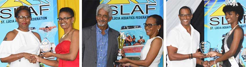 L-R) President of the Lightning Aquatics Swim Club Tessa Charles-Louis receiving the Administor of the Year award from Lisa Pultie, Lighting Aquatics Swim Club also captured the award for Club of the Year; David Peterkin receiving the Pat Charles Award from Diane Maurecette; Brian Charles receiving the Coach of the Year award from Gros Islet Carnival Queen 2019 Kersandra Edwards. (PHOTO: Anthony De Beauville)