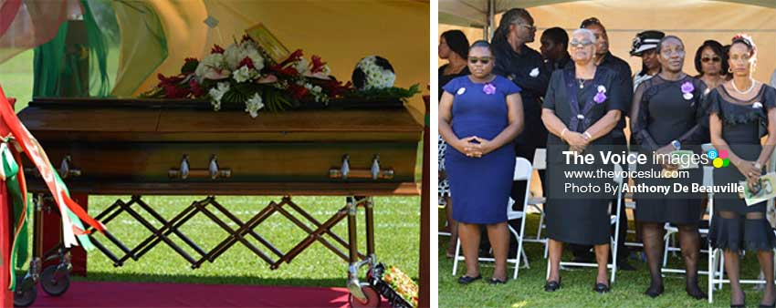 Image: (L-R) The casket with Cassius Glasgow's body; second from left his mother, a pillar of strength. (Photo: Anthony De Beauville)