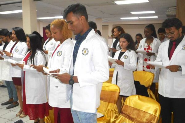 Image of the new students at Spartan's White Coat Ceremony.