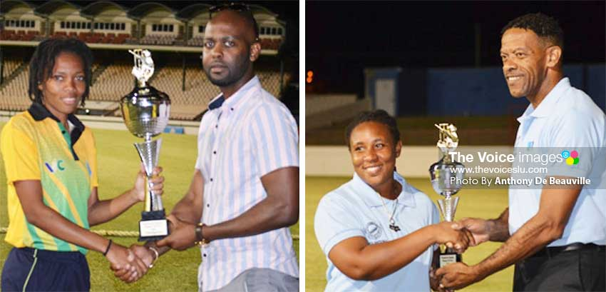 Image: Saint Vincent and the Grenadines captain Edelyn Turtin receiving the 50 Overs championship trophy from CWI Vice President Shallow; Saint Lucia captain Ashlene Edward receiving the T20 Championship trophy from SLNCA President, Carol Henry. (PHOTO: Anthony De Beauville)