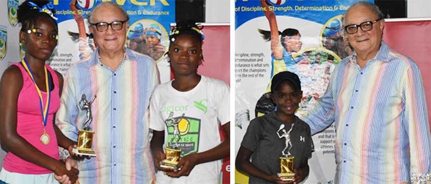 Image: (L-R) Girls Under 12 champion – Amara Jn Marie, SLNTA President – Stephen McNamara, losing finalist – AmiaJn Marie; Boys Under 12 champion, Green Ball Champion and  Green Ball Doubles Champion – Ahlil Cyril. (PHOTO: Anthony De Beauville)