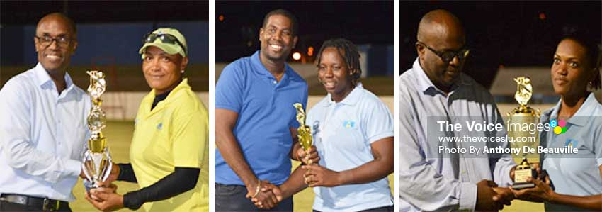 Image: (L-R) Former SLNCA President Julian Charles presenting the MVP Award in the 50 Overs to Pearle Etienne (Dominica), SLNCA Treasurer Celestine Laurent presenting the MVP Award in the T20 to Qiana Joseph (Saint Lucia) and SLNCA Principal Secretary John Estaphane presenting the award for the most wickets in the 50 Overs to Yasmine St Ange. (PHOTO: Anthony De Beauville)