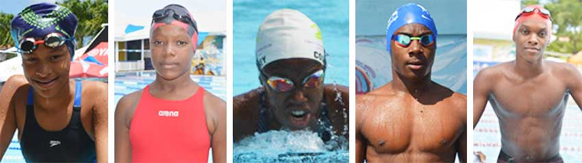 Image: (L-R) Maliyah Henry, Anyka Holder (Southern Flying Fish); Courtney Paul (Lightning Aquatic), Ziv Reynolds and Allandre Cross (Sharks) will be going all out to qualify. (PHOTO: Anthony De Beauville)