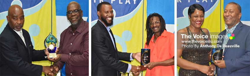 Image: (L-R) Sports Director Patrick Mathurin presenting the Lifetime award to Cassim Miller on behalf of Marc Louis; PS Sports Benson Emile presenting the Special Education Footballer of the Year award to Christopher Duncan who collected the award on behalf of Alex Pierre and KermarVernevil; Scotts Sports and Awards representative Luan Dujon receiving a Cooperate Award from SLFA President Lyndon Cooper. (PHOTO: Anthony De Beauville)