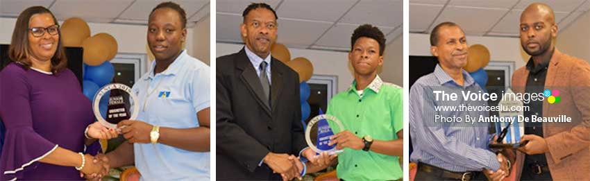 Image: (L-R) Verena Felecien presenting the Junior female Cricketer of the Year award to Qiana Joseph, SLNCA President Carol Henry presenting Junior male Cricketer of the Year award to Simeon Gerson who colleteced on behalf of KimaniMelius; South Castries Caricket Association representaive John Calixtereceving the Senior Cricketer of the Year award from CWI Vice President Dr Kishore Shallow. (PHOTO: Anthony De Beauville)