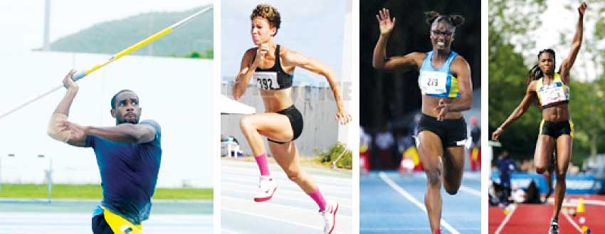 Image: (L-R) Albert Reynolds (Javelin) Jeanelle Scheper (High Jump), Julien Alfred (Sprinter) and Sandisha Antoine (Triple Jump). (PHOTO: Anthony De Beauville)