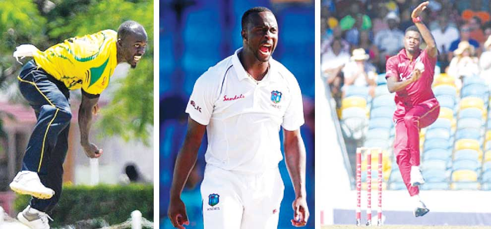 Image: Derval Green (Jamaica), Kemar Roach (Barbados) and Alzarri Joseph (Leeward Islands).  Photo: Getty Images/ CWI Media)