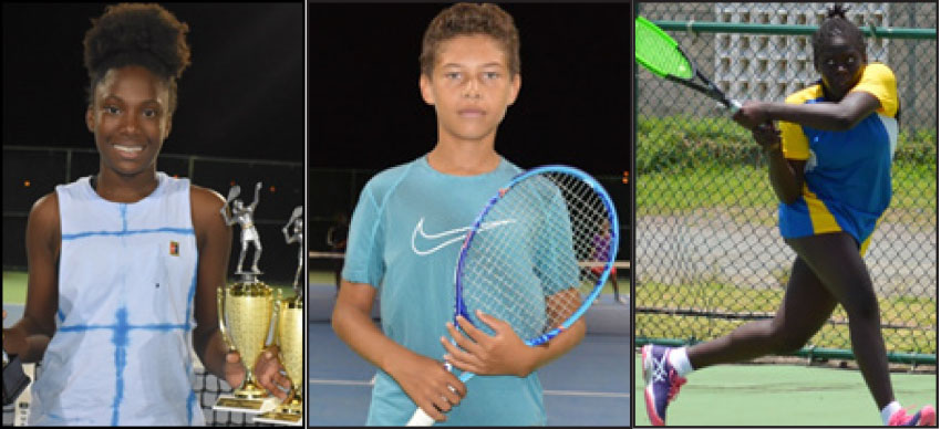 (L-R) ) Up and coming tennis stars in the making, Alysa Elliott, Joey Angeloni and Iyana Paul . (PHOTO- Anthony De Beauville)