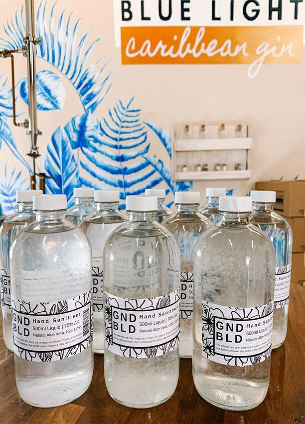 Blue Light Distillery hand sanitizers.