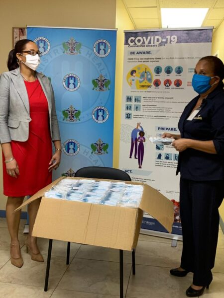 Image: Donation of 100,000 medical face masks to St Lucia's front line workers.