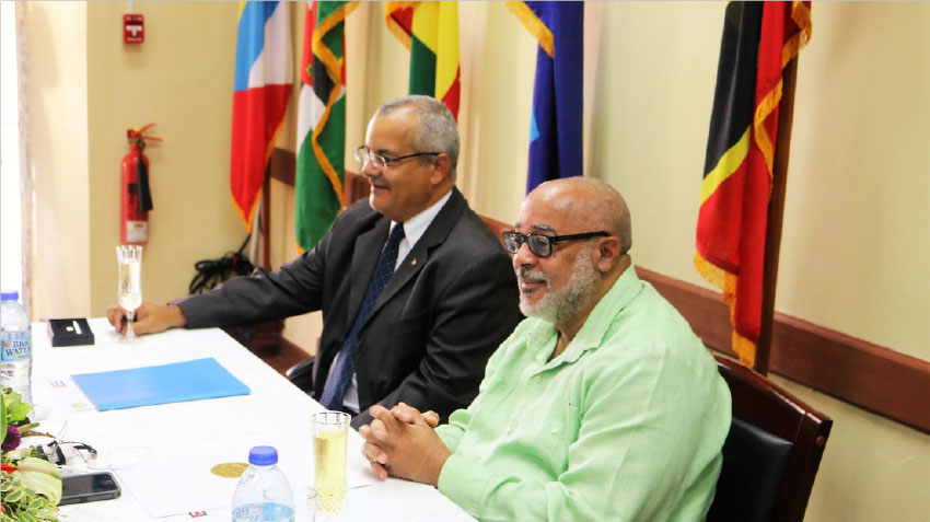 Image: Ambassador of the Republic of Cuba Saint Lucia/OECS Alejandro Simancas Marin (left) and Director General of the Organisation of Eastern Caribbean States Didacus Jules.