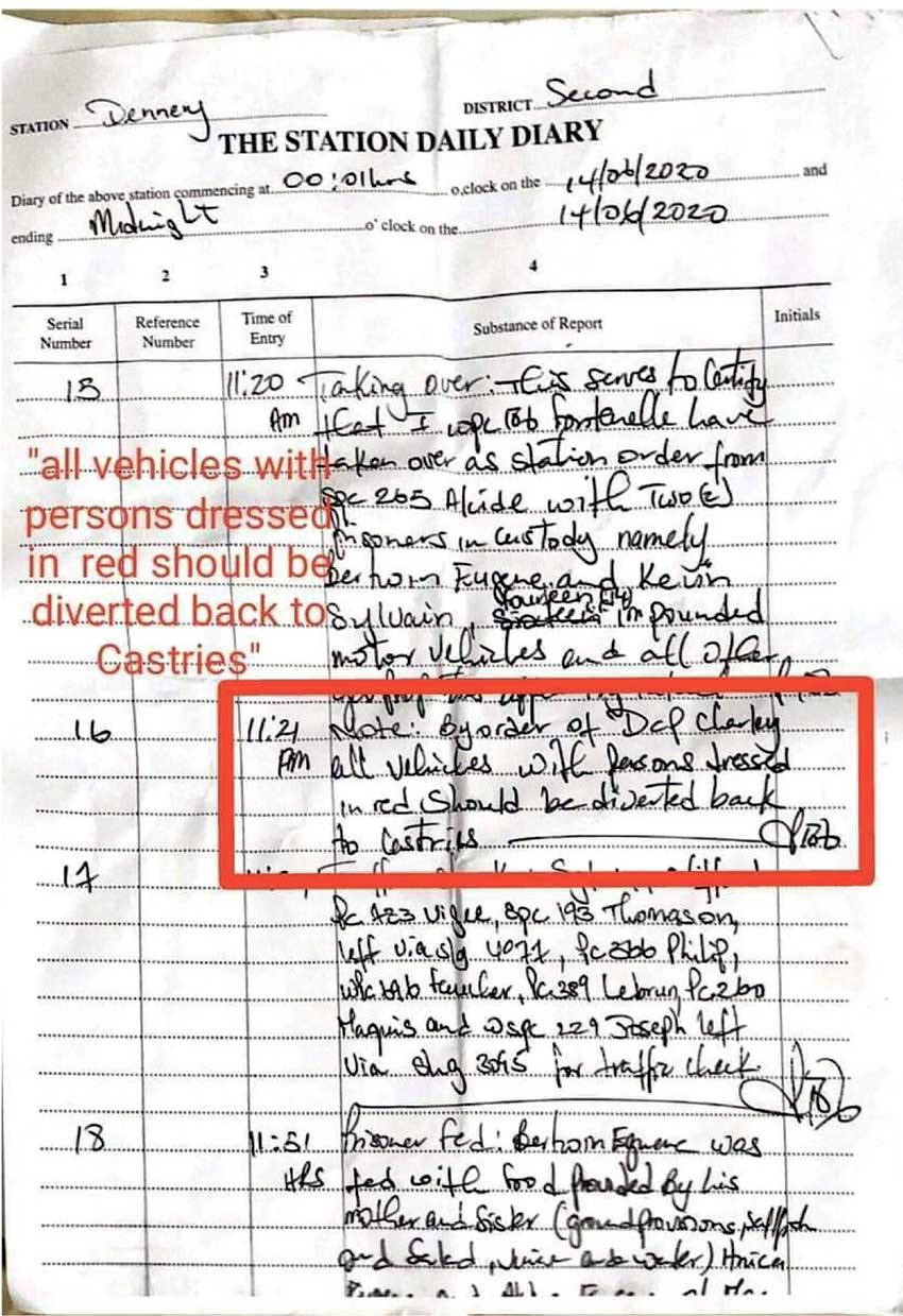 Image of the page from the Dennery Station's Daily Diary which has been deemed authentic.