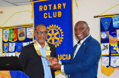 Image: President Leathon Khan (left) and Past President (Leevie Herelle) of the Rotary Club, Saint Lucia.
