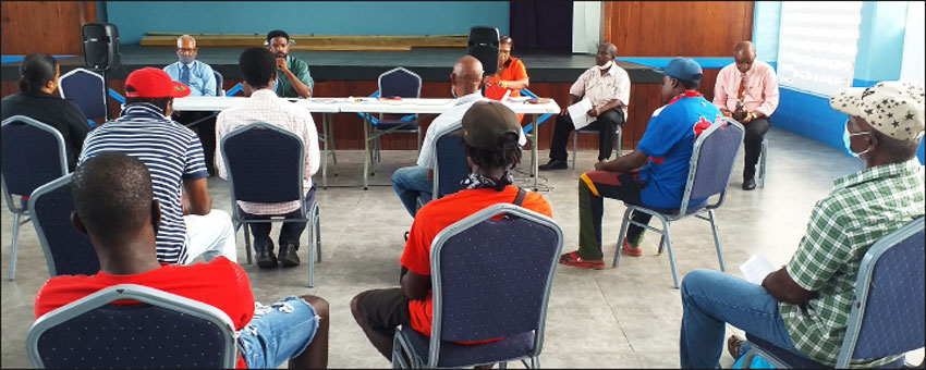 Image: Vendors meeting with representatives of the Castries Constituency Council, Ministry of Agriculture, and the St Lucia Solid Waste Management Authority.