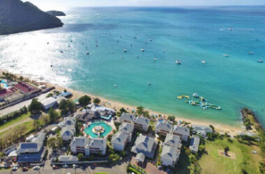 Image of Bay Gardens Beach Resort & Spa and Splash Island Water Park, located on the breathtaking Reduit Beach in St Lucia.