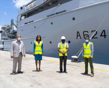 Image From left: Honorary Consul of France to Barbados Captain Don G. CHEE-A-TOW, Executive Director (ag) of CDEMA Elizabeth Riley, Logistics Specialist at CDEMA Curtis Dennie and Communication and Education Specialist at CDEMA Clive Murray present at the loading of supplies to be delivered to the four CDEMA Participating States.
