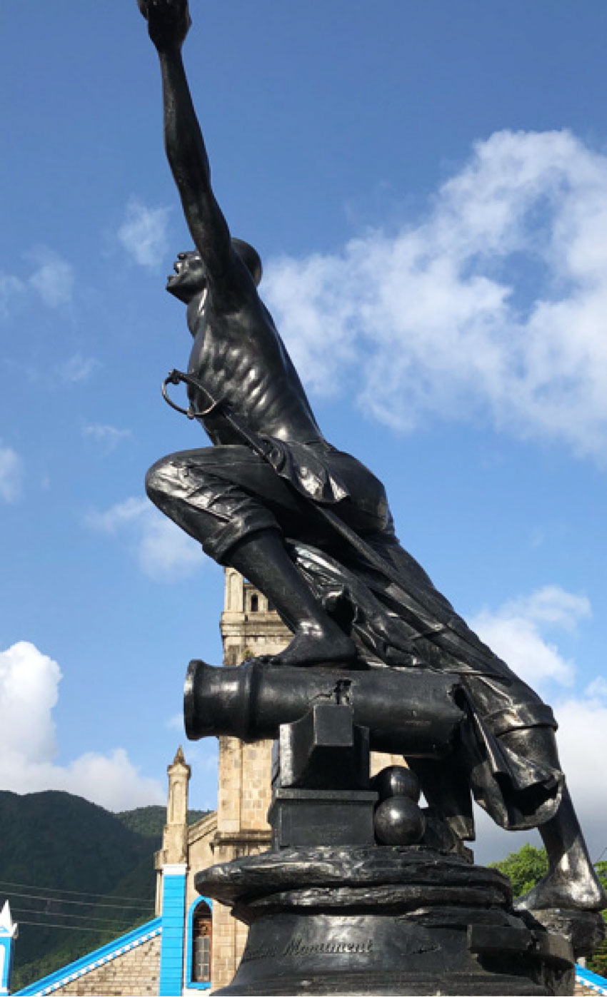 Image of the 'Neg Mawon' statue by Rickey George in Soufriere