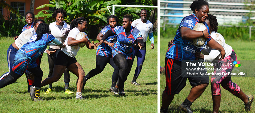 Image: (L-R) Some of the showpiece on the pitch between Whiptail Warriors and Renegades women on Sunday .(PHOTO: Anthony De Beauville)