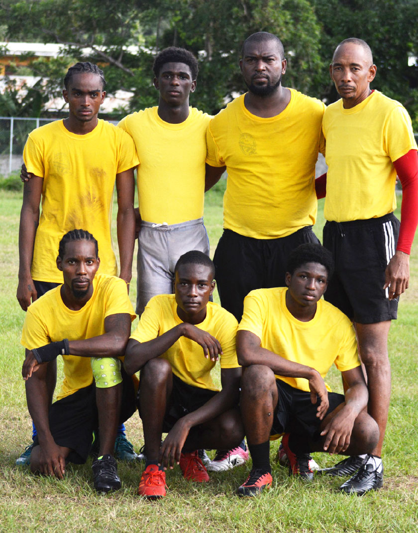 Image: A photo moment for the President of Monchy Sharks rugby team Cyril Marius and SLRFU Technical Director, Wayne Pantor (3rd/4th in back row) along with other members of the team. (PHOTO: Anthony De Beauville)