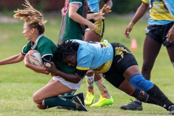 Image: Chantel John in action against Guadeloupe. (PHOTO: CJ)