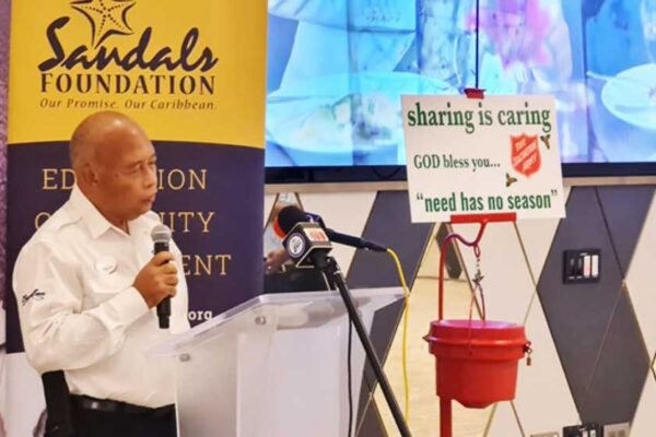 Image: Winston Anderson speaking during the media briefing for the Salvation Army's Rescue Christmas Launch